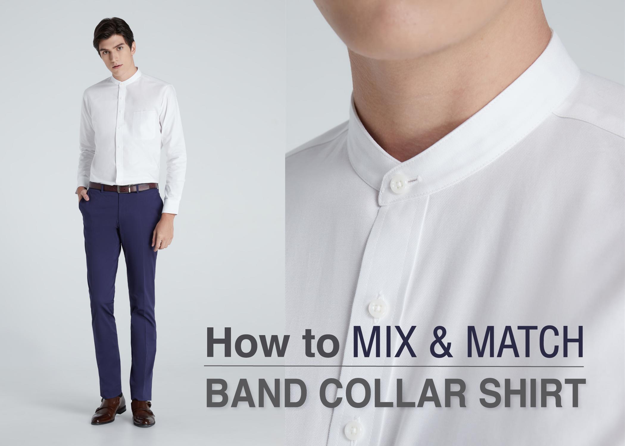 MIX & MACTH Band Collar Shirt